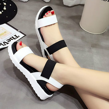 2017 New shoes Summer sandals women peep-toe sandalias flat Shoes Roman sandals shoes woman mujer Ladies Flip Flops Footwear 810