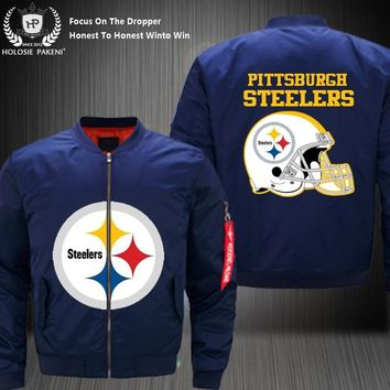Dropshipping USA Size Men MA-1 Jacket Football Team Pittsburgh Steelers Flight Jacket Costume Design Printed Bomber Jacket made