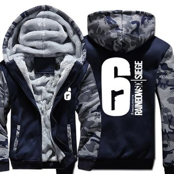 Mens Casual 2017 Game Tom Clancy's Rainbow Six Siege Hoodies Zip up Thick Winter Super Warm Cotton Sweatshirts Coats