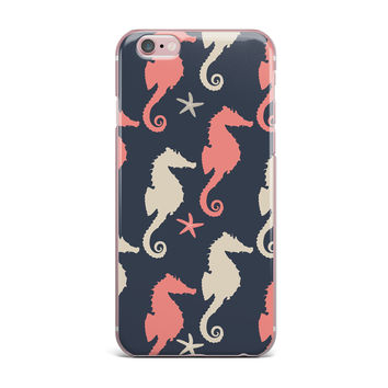 "afe images ""Gray and Coral Seahorses"" Coral Gray Digital iPhone Case"