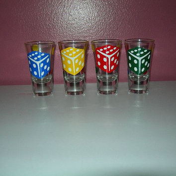 Set of 4 Bunco Shot Glasses Bunko Shot Glasses