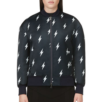 Neil Barrett Black Lighting Bolt Bomber Jacket