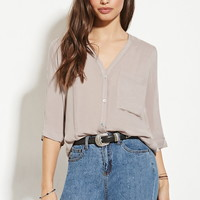 Twisted-Back Buttoned Top