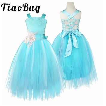 Blue Flower Girls Dress Kids Pageant Party Ball Gown Prom Princess Formal Occassion Long Crossed Back Dress