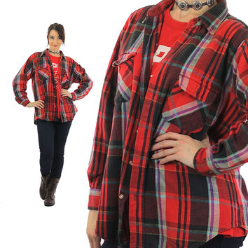 Red plaid shirt Flannel Grunge Large black red oversize 1990s long sleeve Button up Mens Large