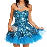 Carrie- Teal Homecoming Dress