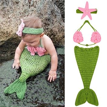 0 to 4 Months Baby Photo Props Crochet Infant Mermaid Photography Prop