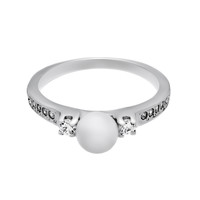 Elegant Pearl Ring with Cubic Zirconia, Engagement Ring
