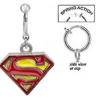 Fake Belly Navel Non Clip on Dc Comics Superman Shield S Red & yellow Dangle Ring