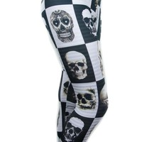Sexy Skull Black & White Checkered Sheer Stripes Leggings