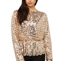 Sequin Scallop Long Sleeve Top - Rose Gold