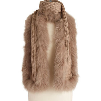 Linda Richards Fur Trimmed Knit Scarf