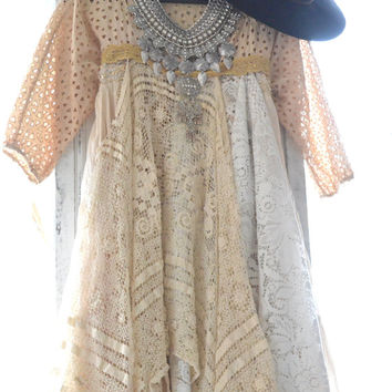 Boho dresses, Bohemian gypsy Stevie Nicks style lace dress, Romantic country crochet sundress, Boho clothing True rebel clothing Spring 2015