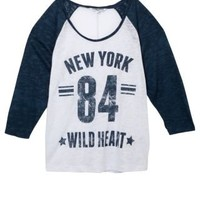 New Look Mobile | Teens Navy New York Raglan 3/4 Sleeve Top