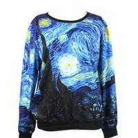 LoveLiness Fashion Sweatshirts Women's Van Gogh's Stars Night Print Sweatshirt