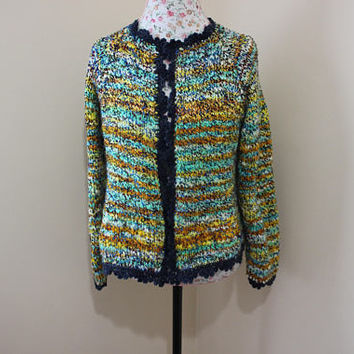 Ready to ship, Women's Handmade Knit from Hand spun Art yarn Long Sleeve Yellow, Navy, Orange Fall Colours Wool Cardigan, Will fit Sizes M-L