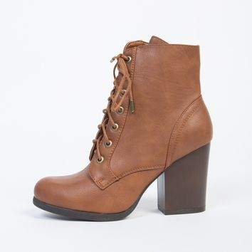 Lace-Up Wooden Heel Ankle Boots