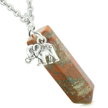 Lucky Elephant Charm Magic Powers Amulet Crystal Point Pendant Dragon Blood Jasper 18 Inch Necklace