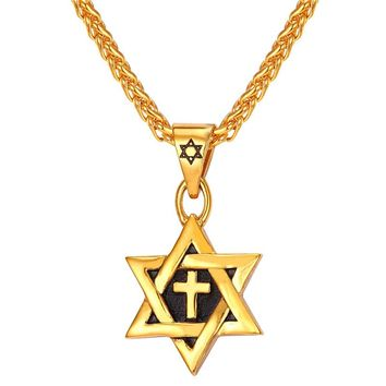 Star of David Cross Pendant Charm Necklaces Jewish Jewelry Women Men Jewelry Stainless Steel Gold Color Necklaces Pendants P002