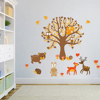 kcik1664 Full Color Wall decal bedroom children's room decor Custom Baby Nursery on bed baby tree nusery decal tree forest animals