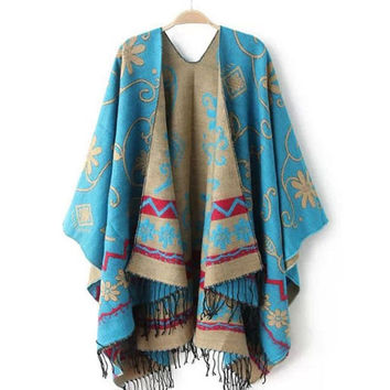 Women Flower Pattern Slit Wool Blend Plaid Blanket Cloak Poncho Cape Tassel Shawls Scarf