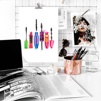 makeup painting mascara art cute Typographic Print drawing art gift decor heart  framed quotes bedroom poster tumblr room decor fashion