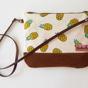 Monogram Crossbody bag Pineapple canvas,clutch purse,small crossbody,leather strap,sling bag,gift for women,teen gift