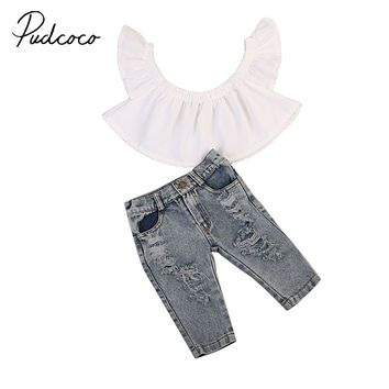 Pudcoco 2017 Fashion Newborn Baby Girls Off Shoulder White Tops+Denim Pants 2pcs Outfits Clothes 0-4Y