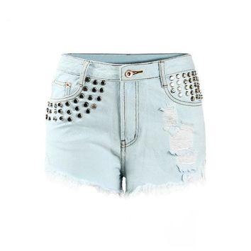 Solid Metal Studded Ripped Short