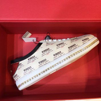 GUCCI Falacer Gucci stamp print sneaker with crystals