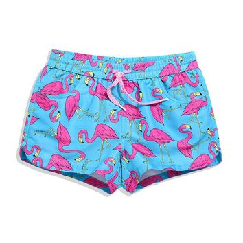 Hot Shorts QIKERBONG Lady Casual  Women bird blue print  Women  Ladies' Quick Drying Fabric New 2017 Summer sexy shortAT_43_3