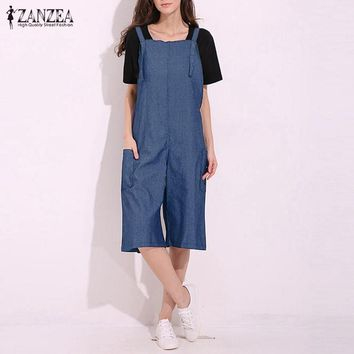 Rompers Womens Jumpsuit 2018 ZANZEA Sexy Vintage Sleeveless Adjustable Strap Wide Leg Pants Denim Solid Overalls Oversized
