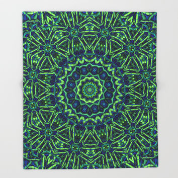 Blue/Green Mandala Throw Blanket by Lyle Hatch