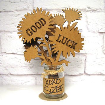 GOOD LUCK Message Gift - Corrugated Cardboard Flowers Bouquet In Mini Mason Jar