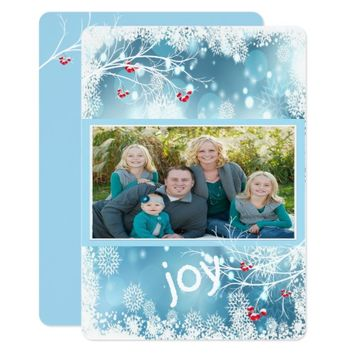 Modern Blue, Christmas, Joy, Snowflakes, Custom Card