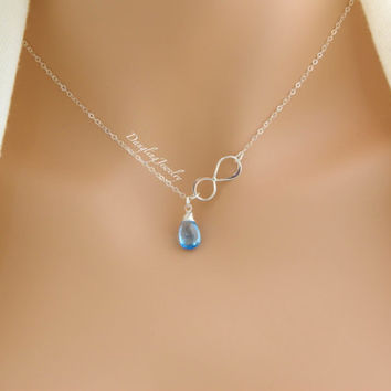 Personalized Birthstone Necklace, Gemstone Necklace, Bridesmaid Gifts, Infinity Jewelry, December Blue Topaz, Flower Girl, Mother Necklace