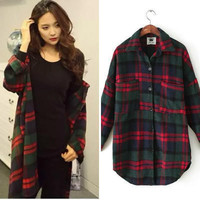 Shirt Collar Plaid Long Sleeve Blouse