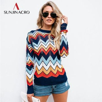 SUNJINACRO Colorful Patchwork Hollow Out Sweater Women Knitted O-Neck Solid Jumper 2018 Autumn Winter Female Casual Pullover