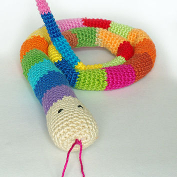 Amigurumi striped rainbow color snake, babysafe toy, stuffed animal, crochet cotton snake, striped snake, crochet reptile,  toy snake