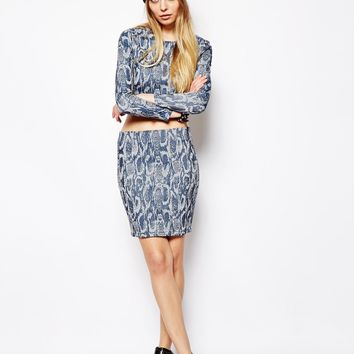 ASOS Denim Premium Tube Skirt in Jacquard Animal Print - Multi