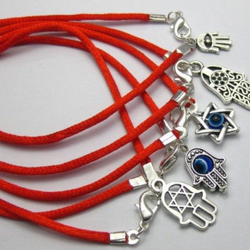20 Mixed Kabbalah Hand Charms Red String Good Luck Bracelets