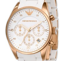 Women's Emporio Armani Ladies' Round Stainless Steel Chronograph Watch, 38mm