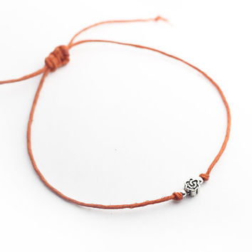 Sterling silver beads orange hemp rope bracelet, Adjustable bracelet