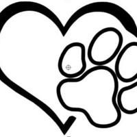Heart and paw sticker