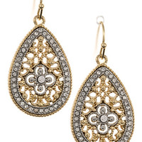 Rhinestone Accent Floral Filigree Teardrop Dangle Earrings
