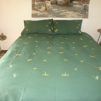 Lime Dragonflies on Green Embroidered Quilt Cover Set - Queen Size