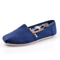 Men Women Soft Casual Canvas Summer Breathable TOMS Shoes Blue Flats