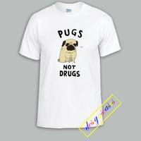 Pugs Not Drugs For T Shirt Unisex Adults size S-2XL