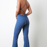 Denim Print Backless Lace-Up Bell Bottom Jumpsuit