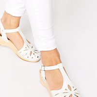 Swedish Hasbeens Lacy Debutant White Mid Heel Sandals